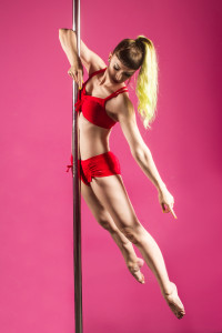 Nea Dune Pole Dancing in Red Outfit