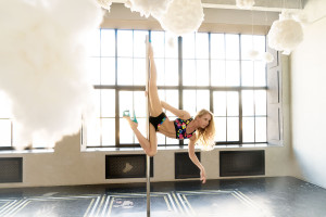 Pole dancer Anastasia Fateeva shooting for Dragonfly